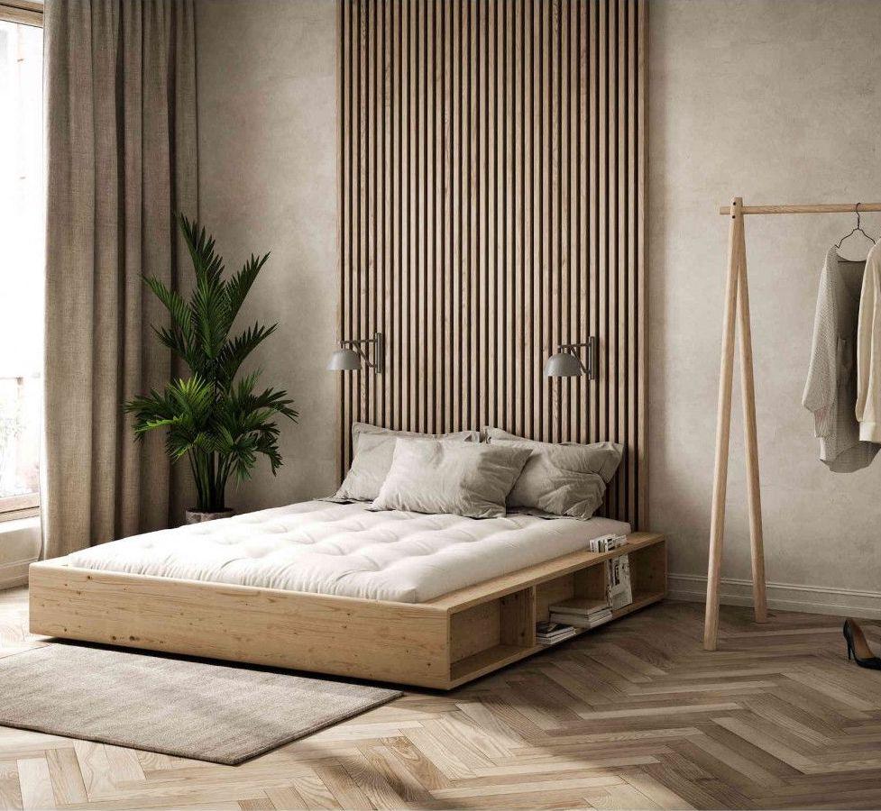 lit double classique bois pin massif décoration intérieure zen cosy naturelle blog clematc