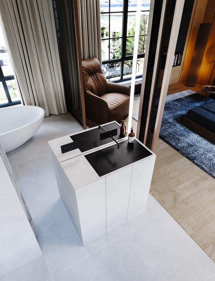 meuble salle de bain pierre claire vasque grille noir robinet