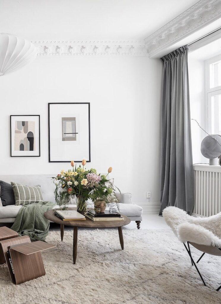 meubler agencement style scandinave nordique salon blanc couleur pastel