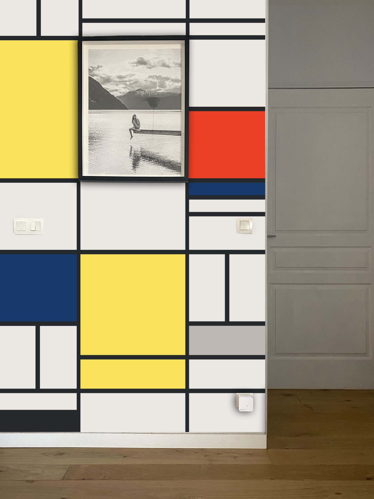 peinture murale motif style Mondrian carré couleur salon - blog déco clem around the corner