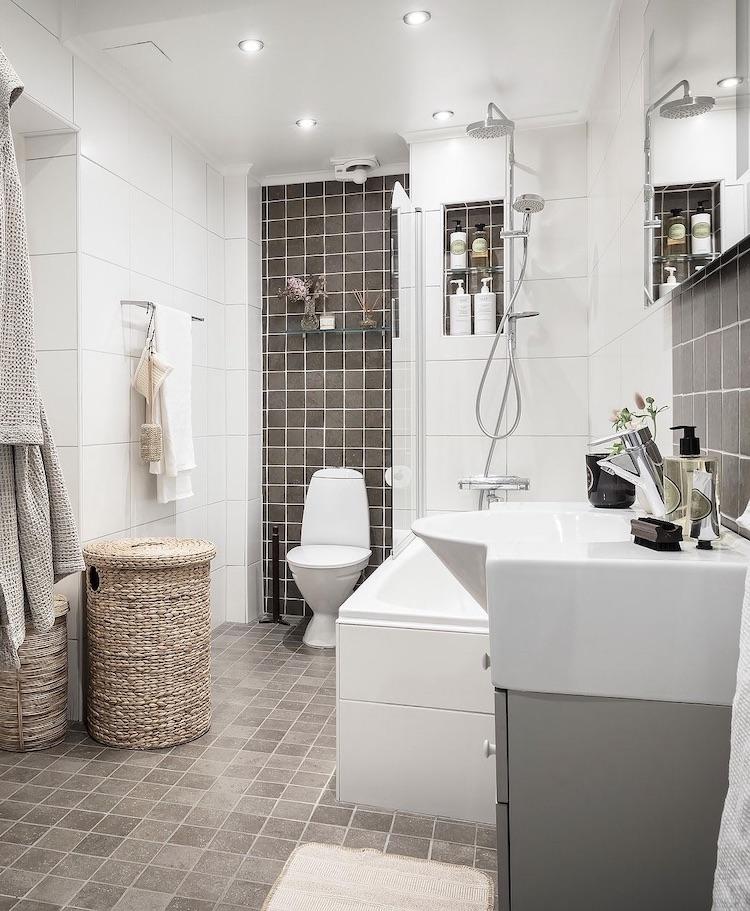 petite salle de bain optimisation espace - blog décoration - clem around the corner