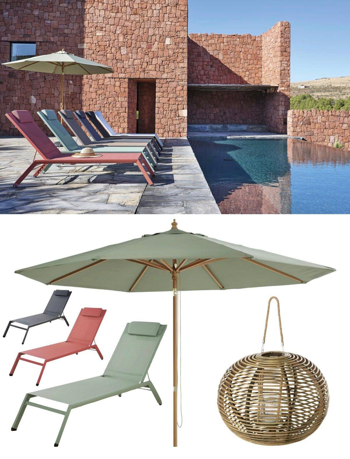 piscine villa briques transat design moderne vert eau rouge gris parasol couleur pastel