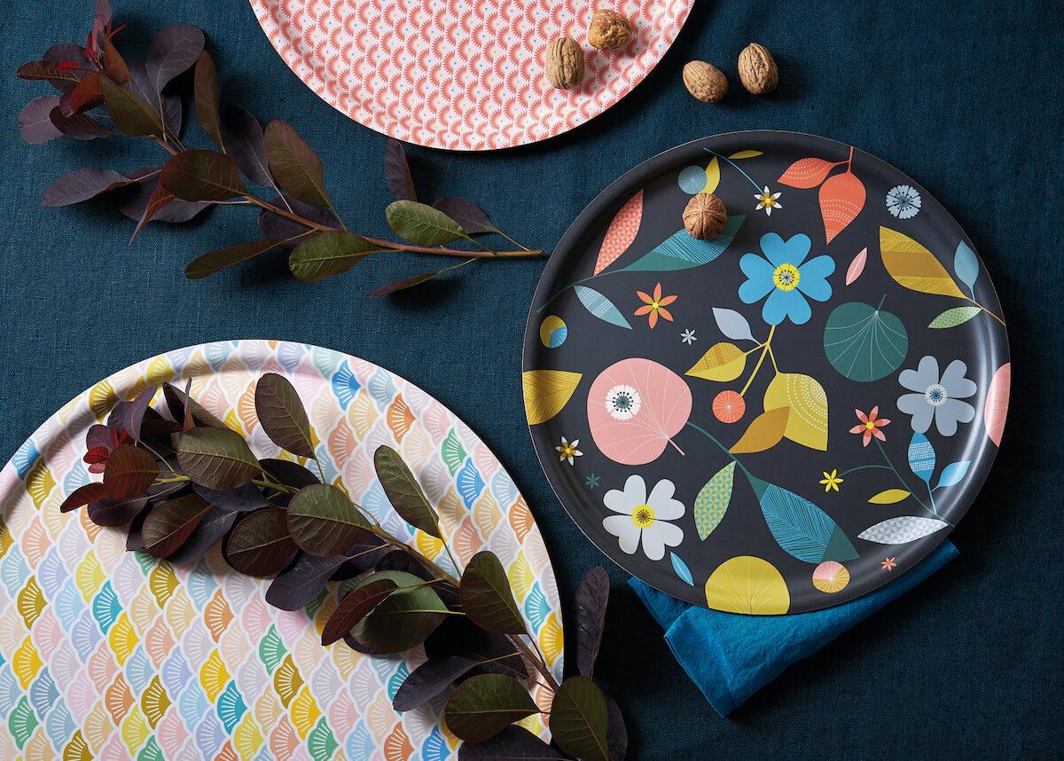 plateau coloré motif retro géométrique - blog déco - clem around the corner