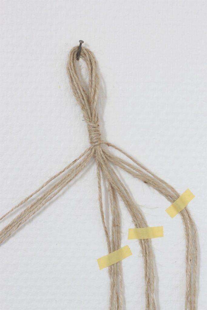 réaliser noeud torsadé étape corde pour tissage murale décoratif
