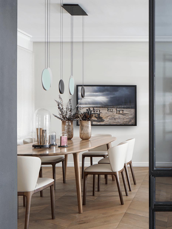 salle à manger table ovale néo art déco fifties bois foncé beige