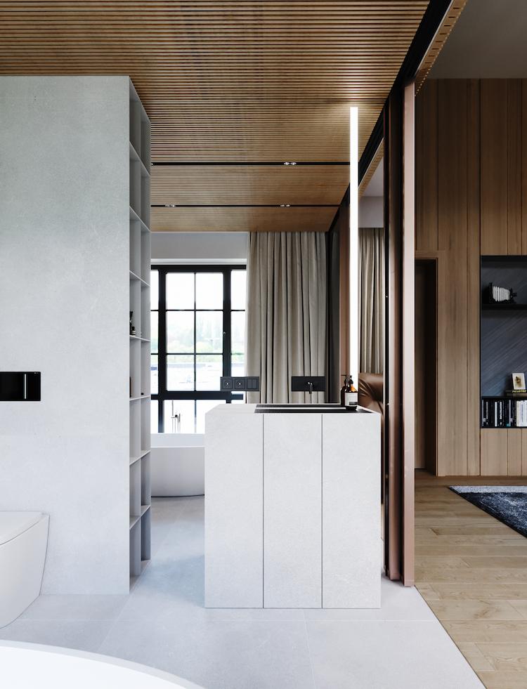 salle de douche minimaliste blanche gris clair grès ceram meuble sous vasque