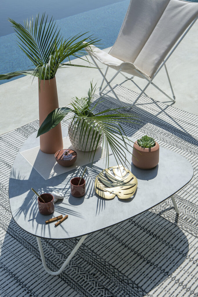 salon de jardin made in France effet béton terrasse Lafuma mobilier