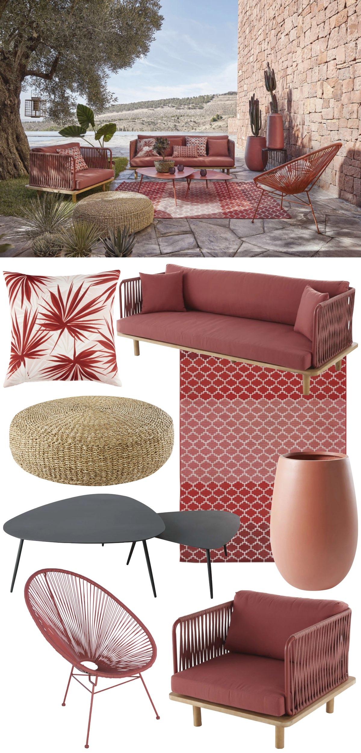 salon de jardin meuble mobilier corde rouge terracotta - blog déco - clem around the corner