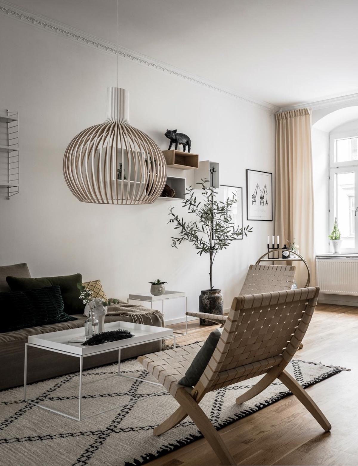 salon nordique Secto Design Octo Suspension bois arrondi rond