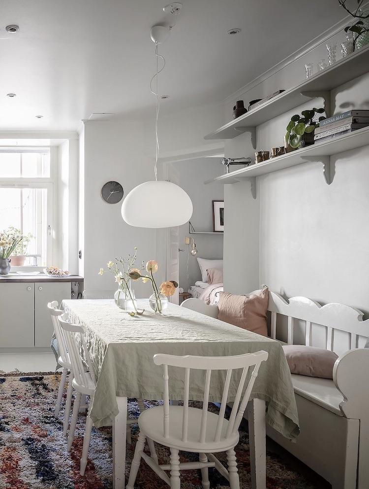 table repas cuisine verte scandinave vintage style campagne