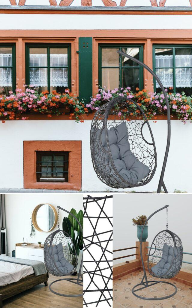 vente privée jardin fauteuil suspendu résine tressé noir gris pas cher