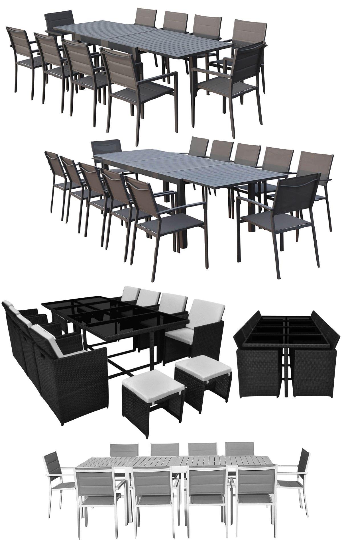 vente privée jardin table extensible extérieure chaise empilable encastrable alu résine tressé plastique osier imitation rotin