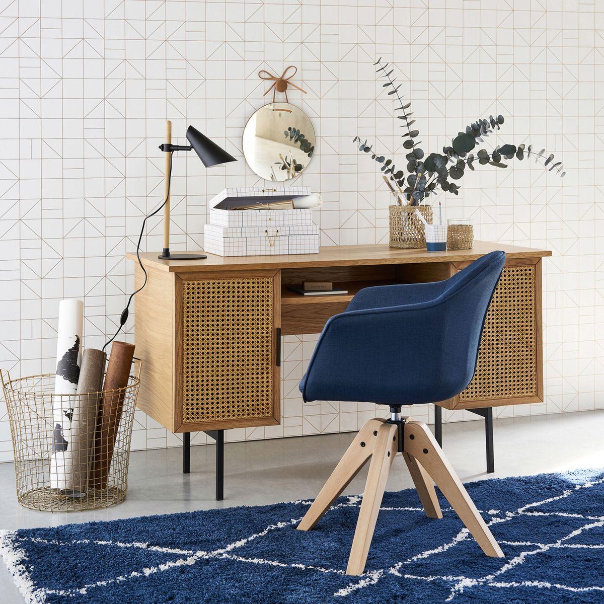 aménager chambre ado coin bureau rangement déco bleue moderne