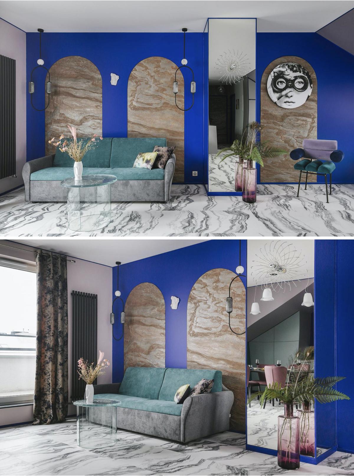 appartement témoin sol marbre grès cérame Fornasetti peinture murale klein