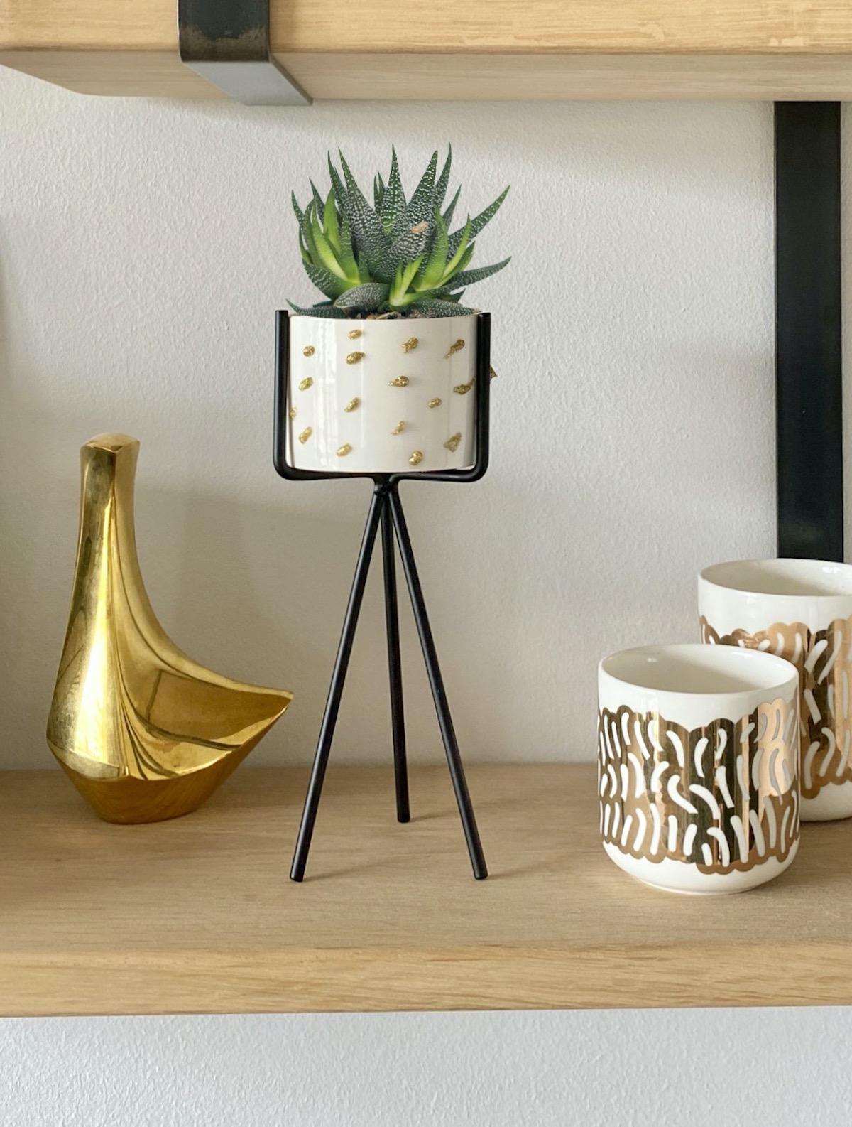 cache pot diy céramique doré plante cactus pistolet à colle