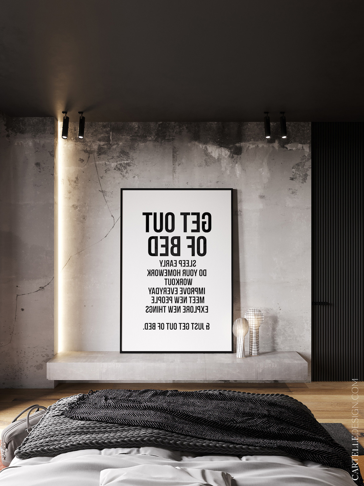 chambre parent loft 130m2 affiche get out of bed