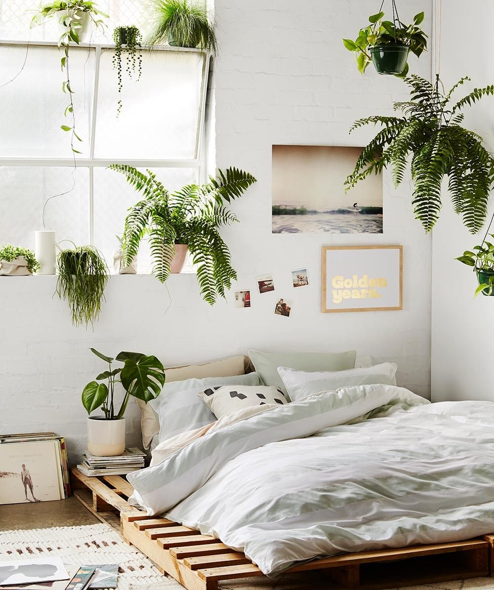 chambre urban jungle lit palette bois plante verte déco intérieure chambre