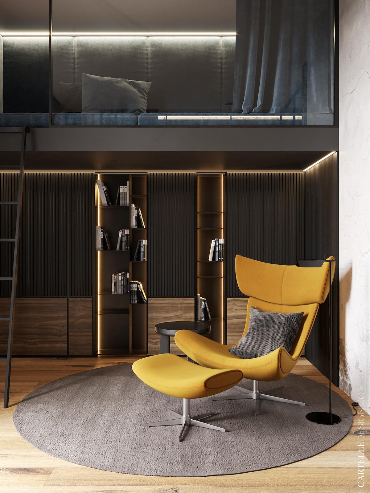 coin lecture bibliothèque sur-mesure noire murale encastré fauteuil jaune moutarde