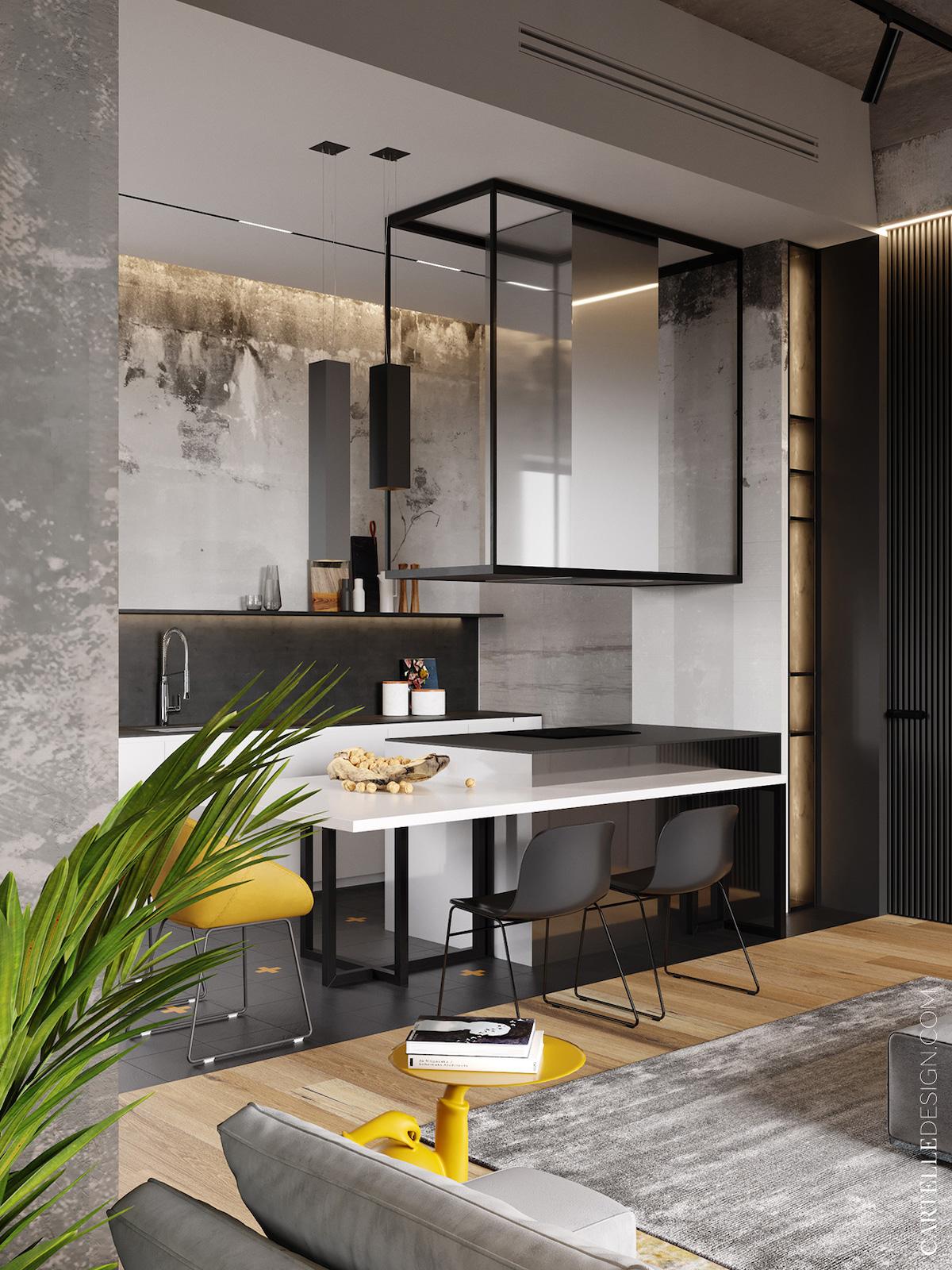 cuisine ouverte blanche noire chaise jaune style loft à Moscou