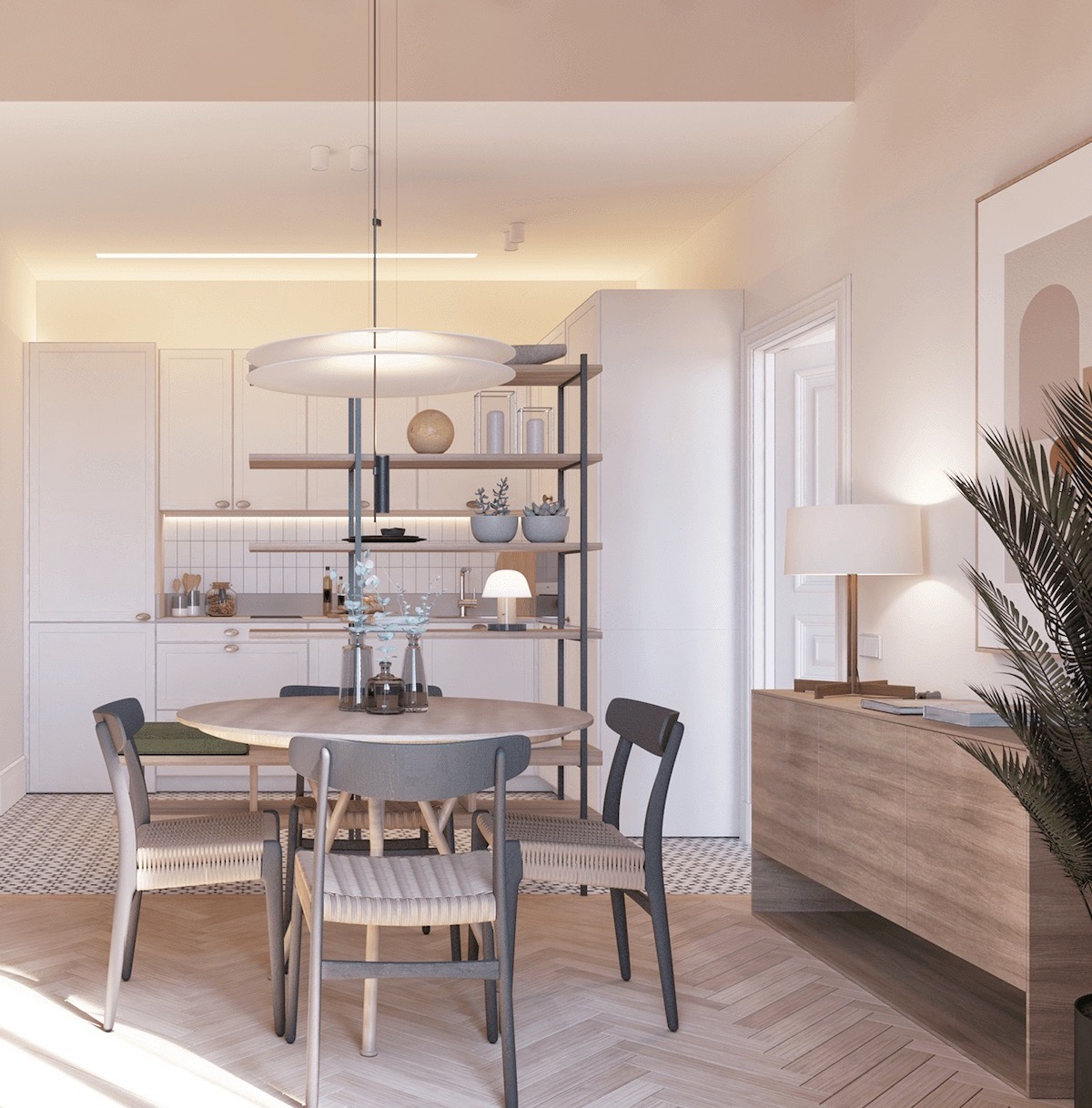 déco design fonctionnalité appartement pour senior salle à manger ronde 3d