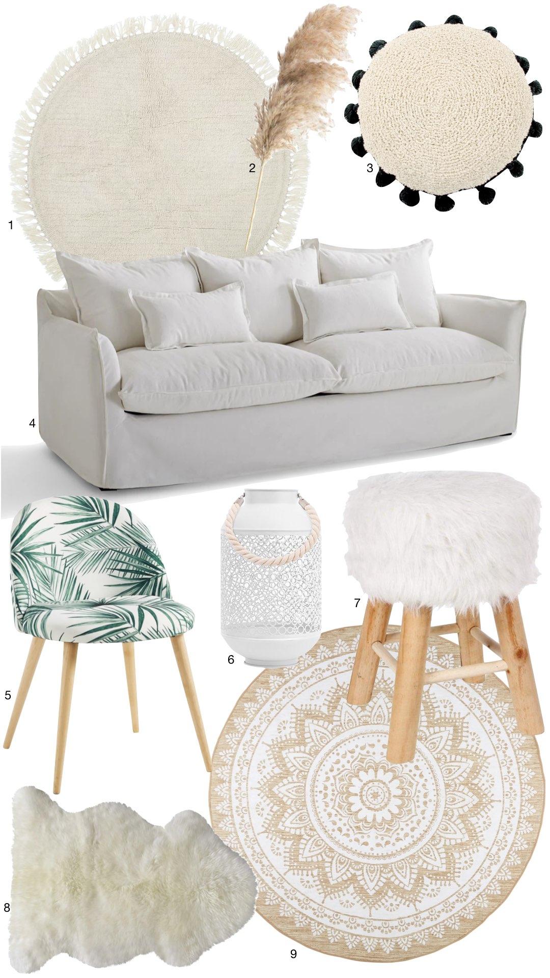 déco scandi boho meubler salon pas cher tapis rond fausse fourrure canapé blanc lin