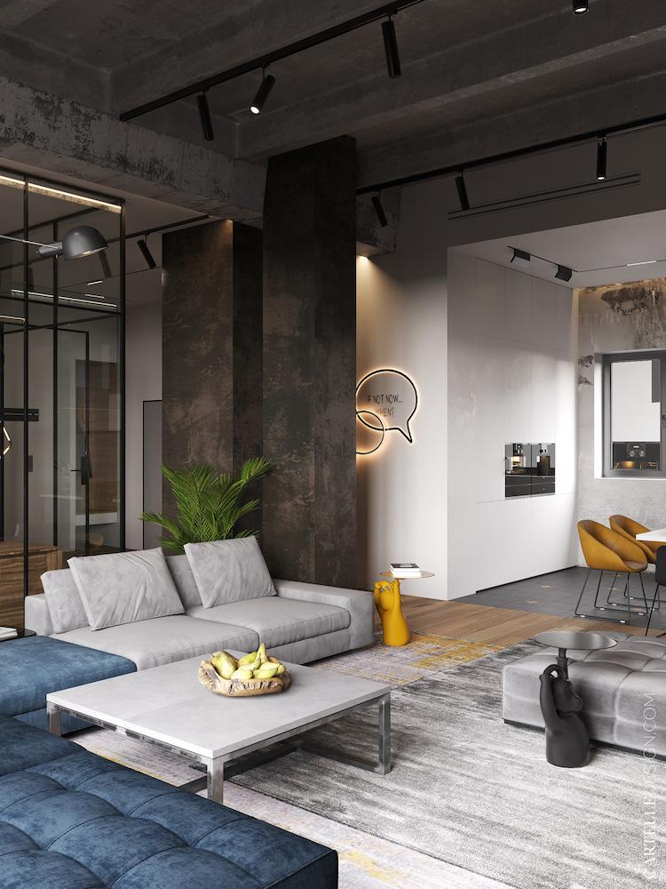 décoration loft à Moscou Russie salon gris bleu jaune