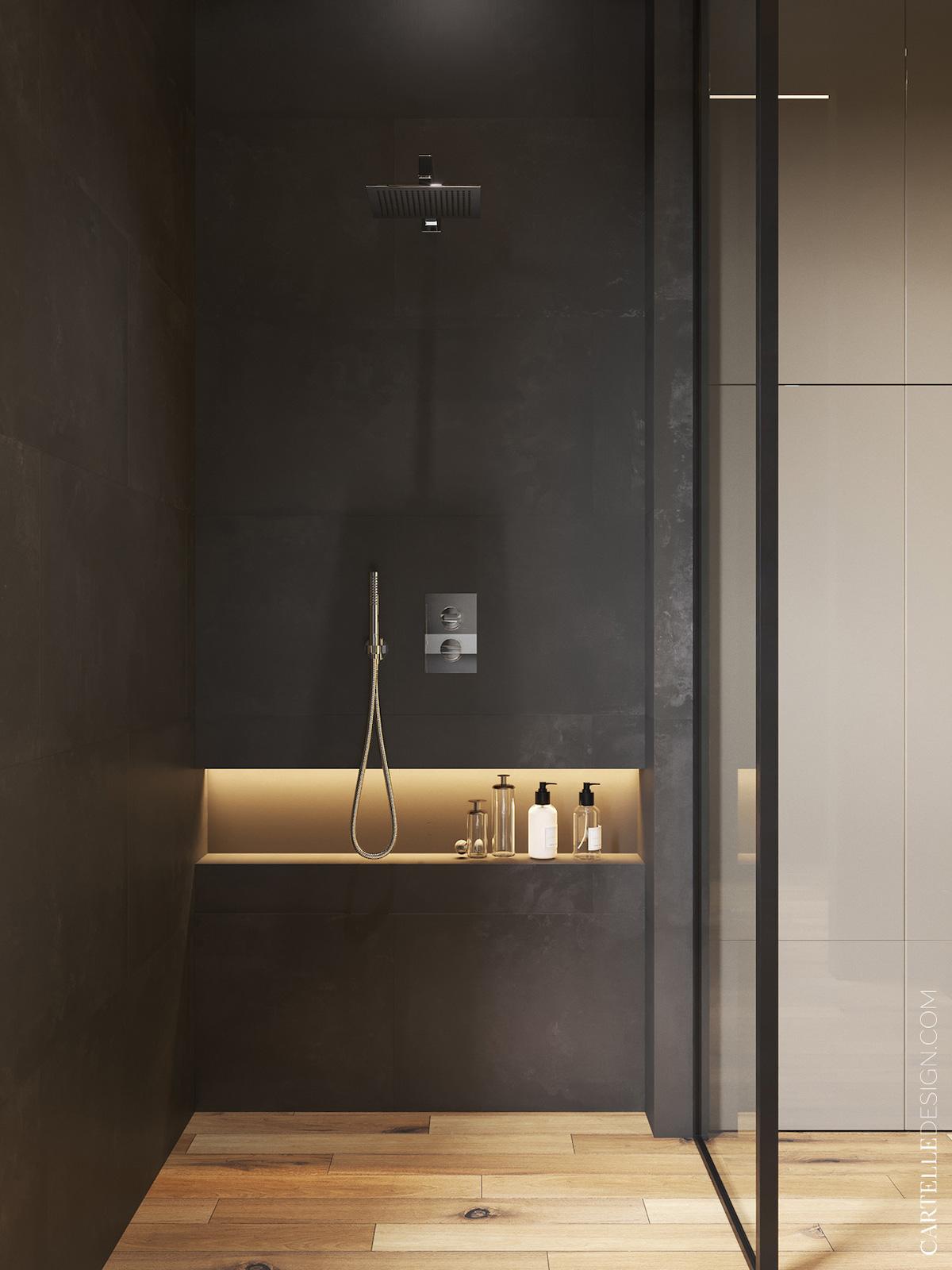 douche italienne carrelage imitation parquet mur noir mat coffre laiton doré