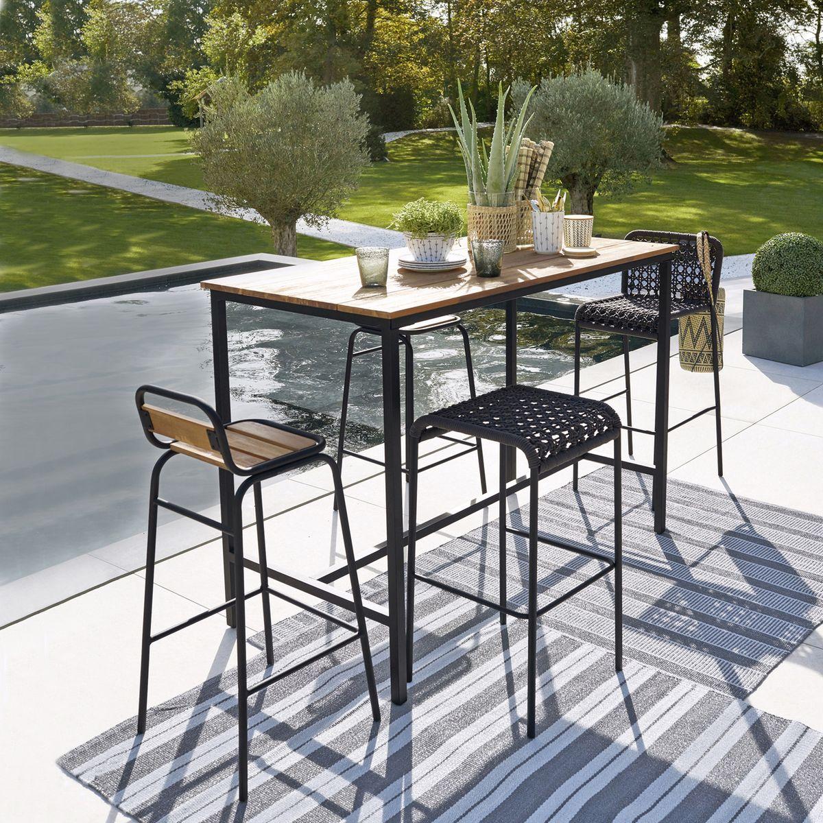 mange debout table haute étroite balcon en longueur chaise tabouret bar bois métal design
