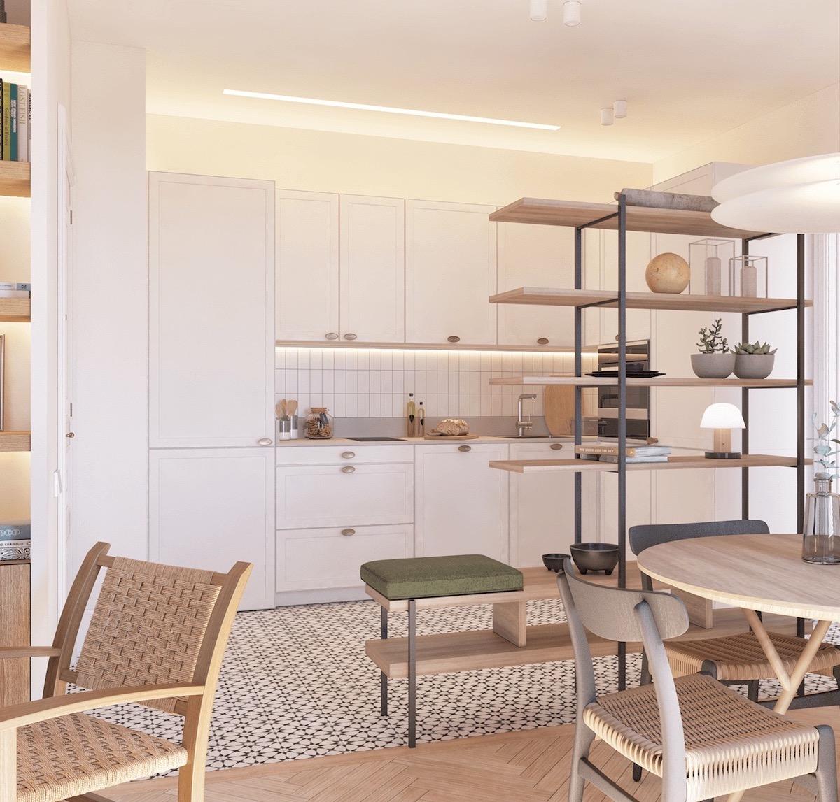 mobilier entrée séparer cuisine salon bibliothèque siège design astuce déco - clem around the corner