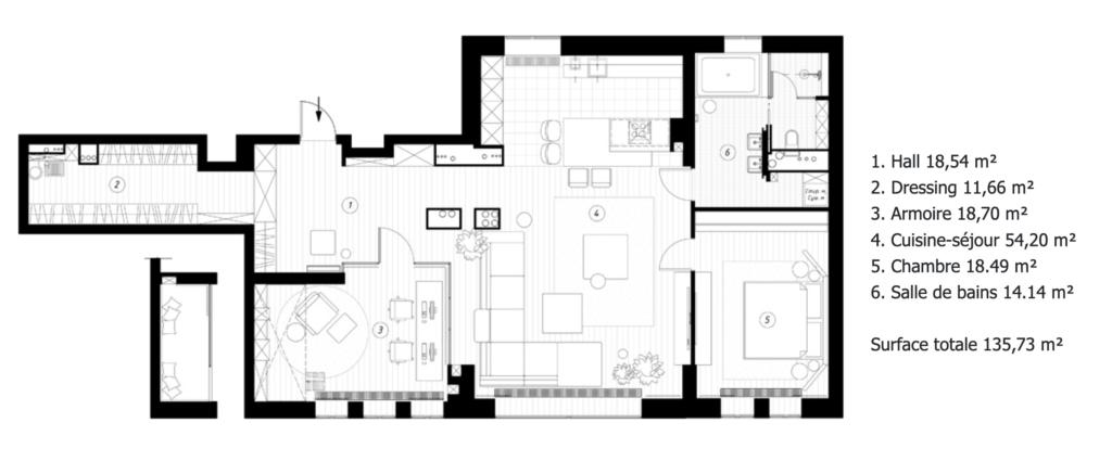 plan aménagement agencement loft 100m2 suite parentale