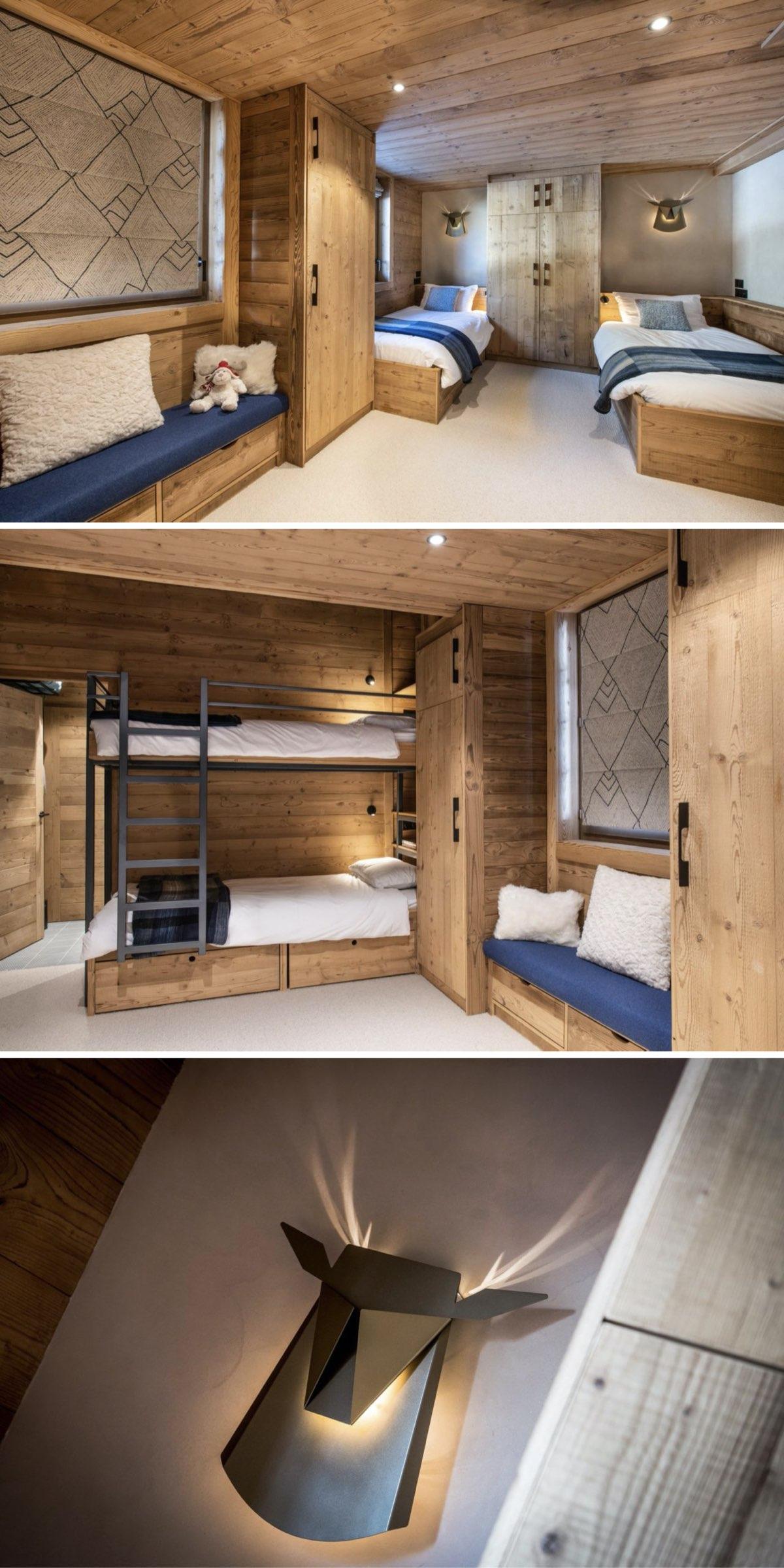 rénovation d'un appartement de montagne style chalet chambre enfant lit superposé en chêne massif