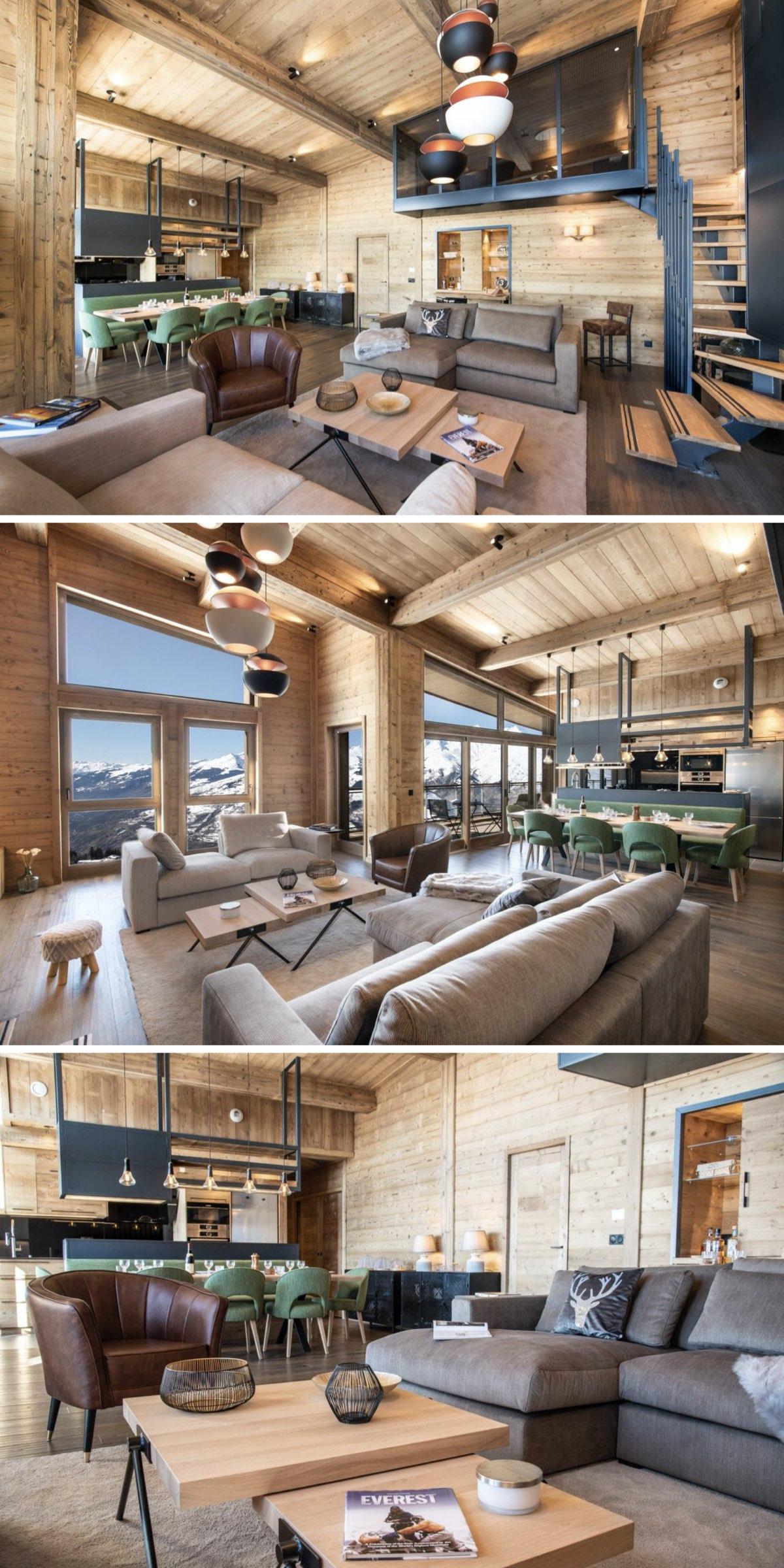 rénovation d'un appartement de montagne style chalet salon gris moderne duplex
