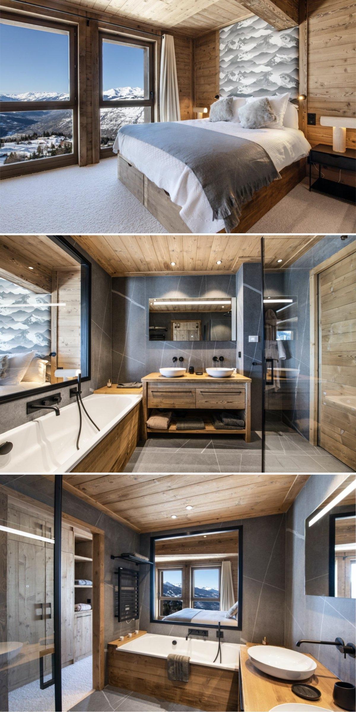 rénovation d'un appartement de montagne suite parentale salle de bain ouverte chambre vue