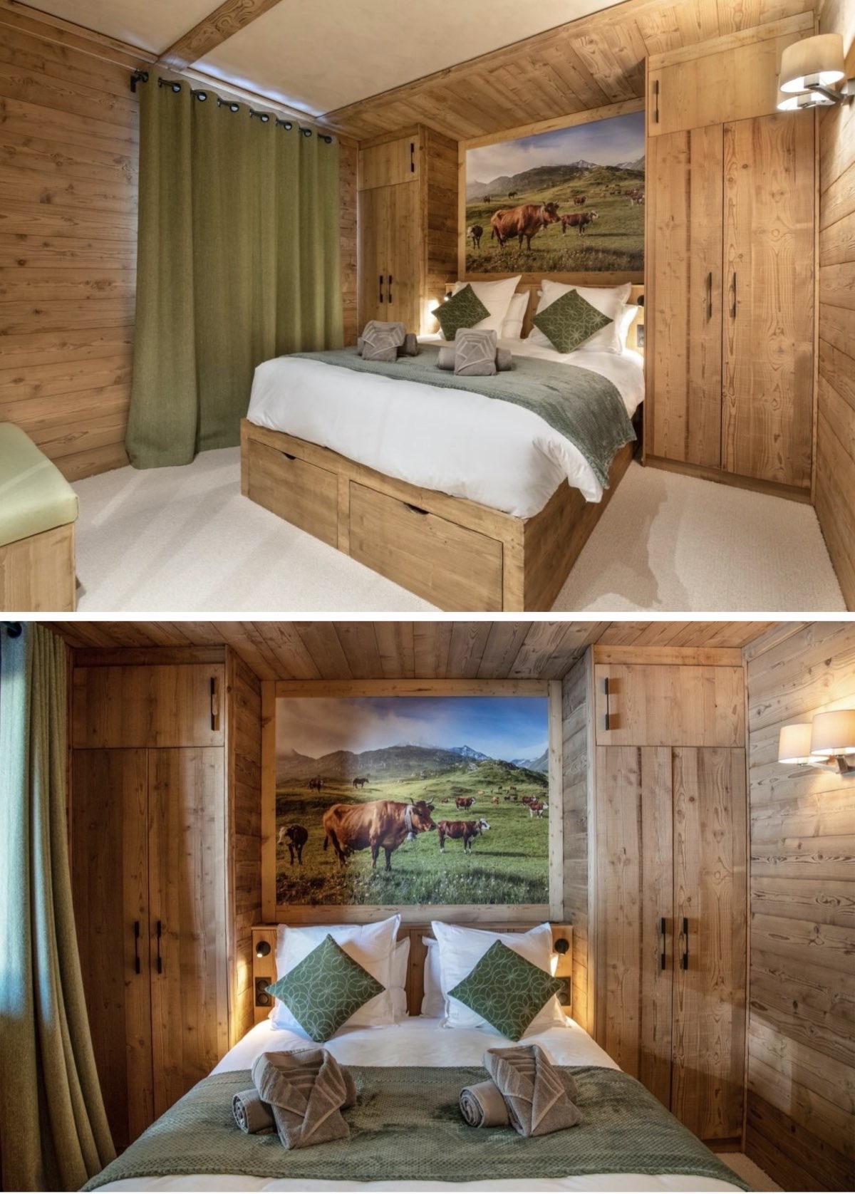 style chalet luxe 4 chambres Arcs Alpes déco verte bois