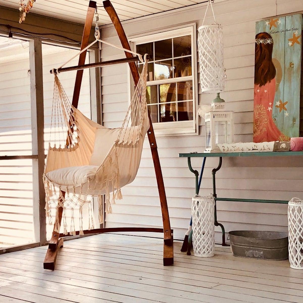 suspension bois fauteuil suspendu toile coton - blog déco - clematc