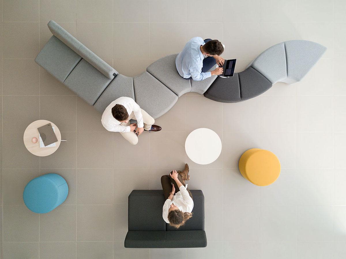 accueil entreprise pouf entrée modulable canapé rond design - blog déco - clem around the corner