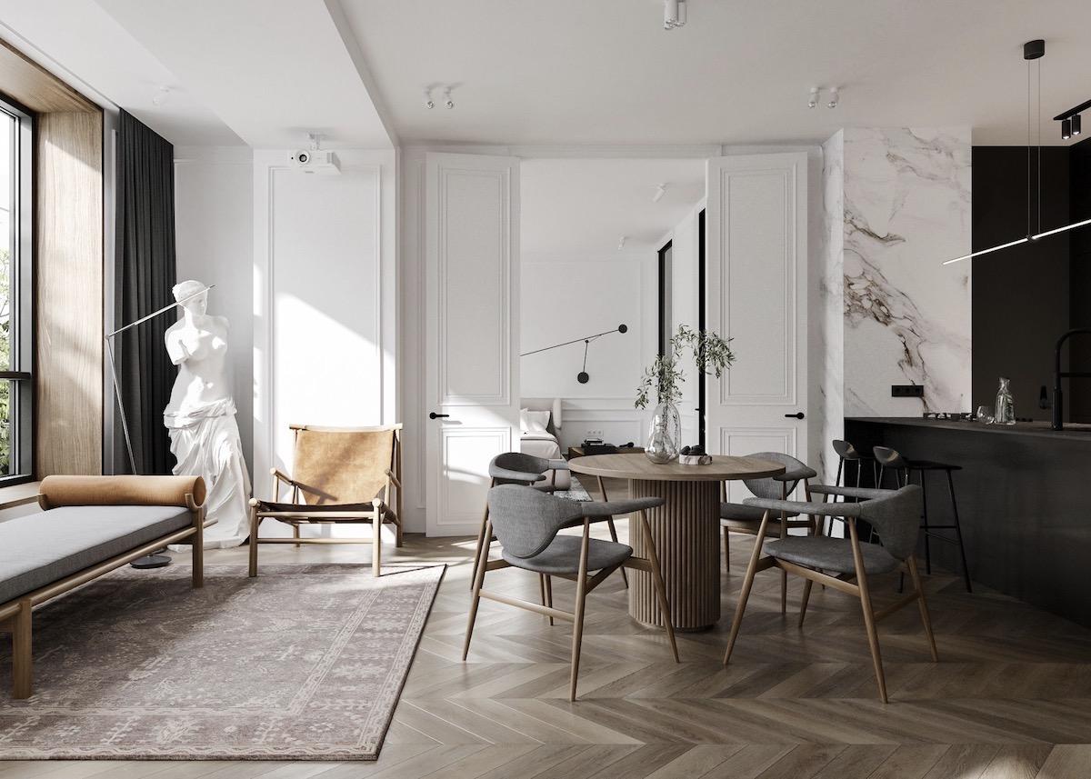 appartement noir blanc bois décoration intérieure style parisien - blog clem around the corner
