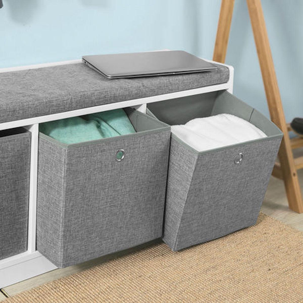 banc de rangement avec coussin rembourré meuble entée - blog déco - clematc
