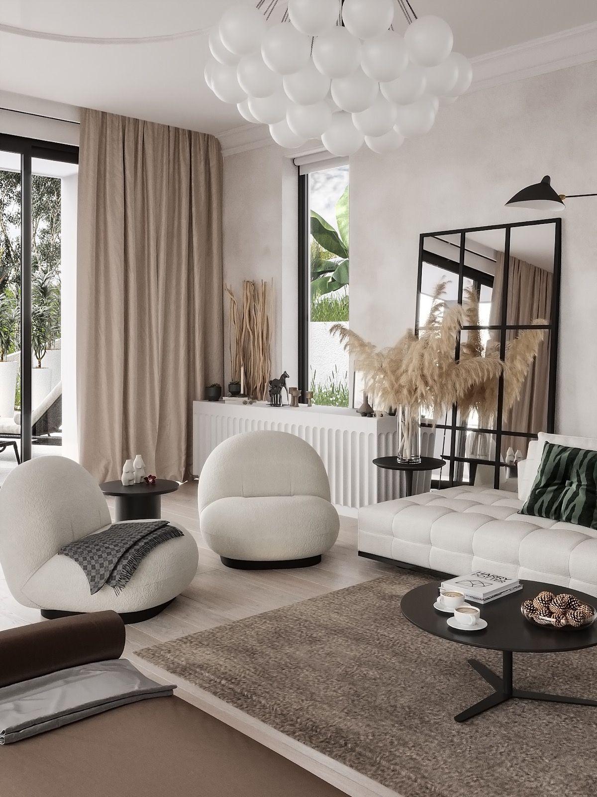 canapé matelassé fauteuil blanc tapis marron herbes de la pampa salon contemporain épuré déco intérieure
