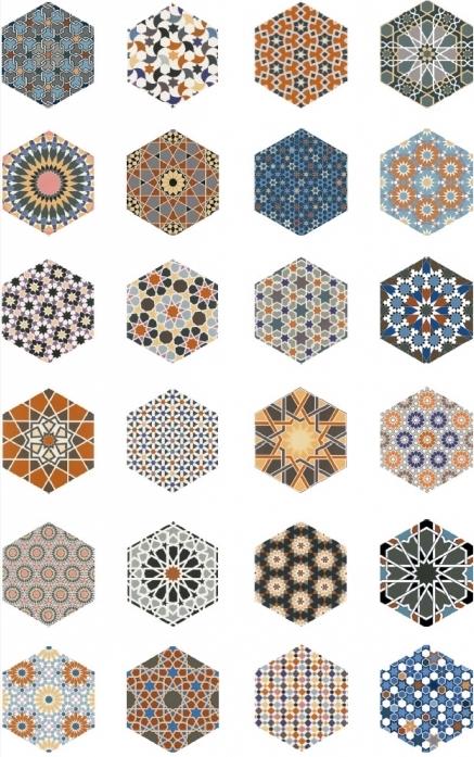 carrelage tomette décorée style ciment hexagone pas cher motif marocain