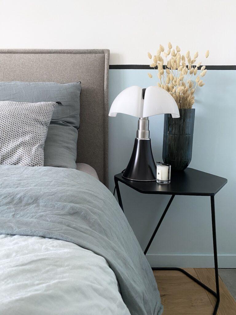 chambre bleue blanche grise tête de lit matelassée tediber avis incroyable