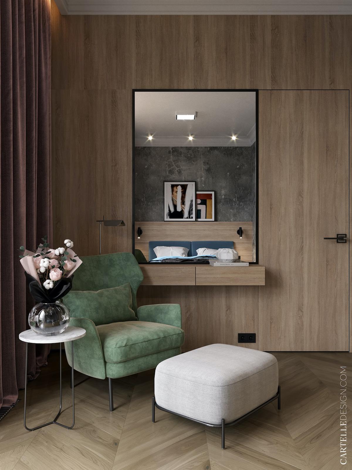 chambre parent comme hôtel bois revêtement coin fauteuil relaxation velours vert coffrage