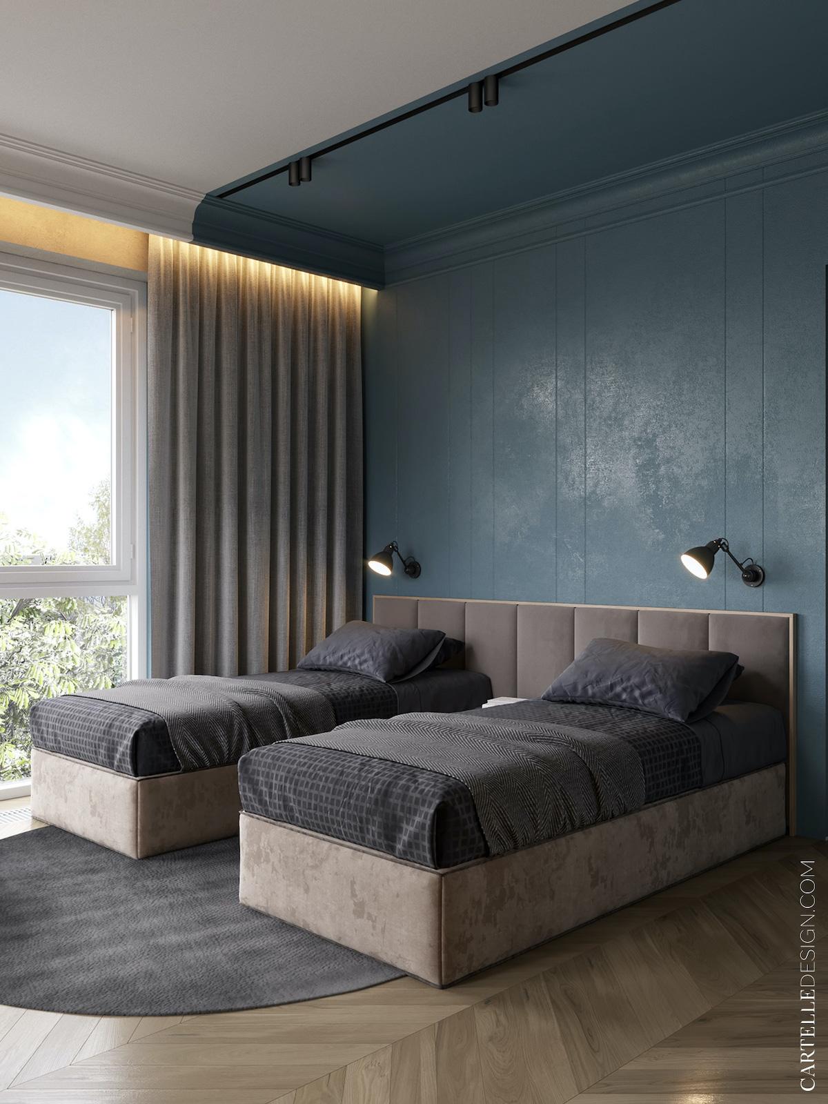 chambre pour 2 enfants bleu gris double aménagement conseil lit moderne