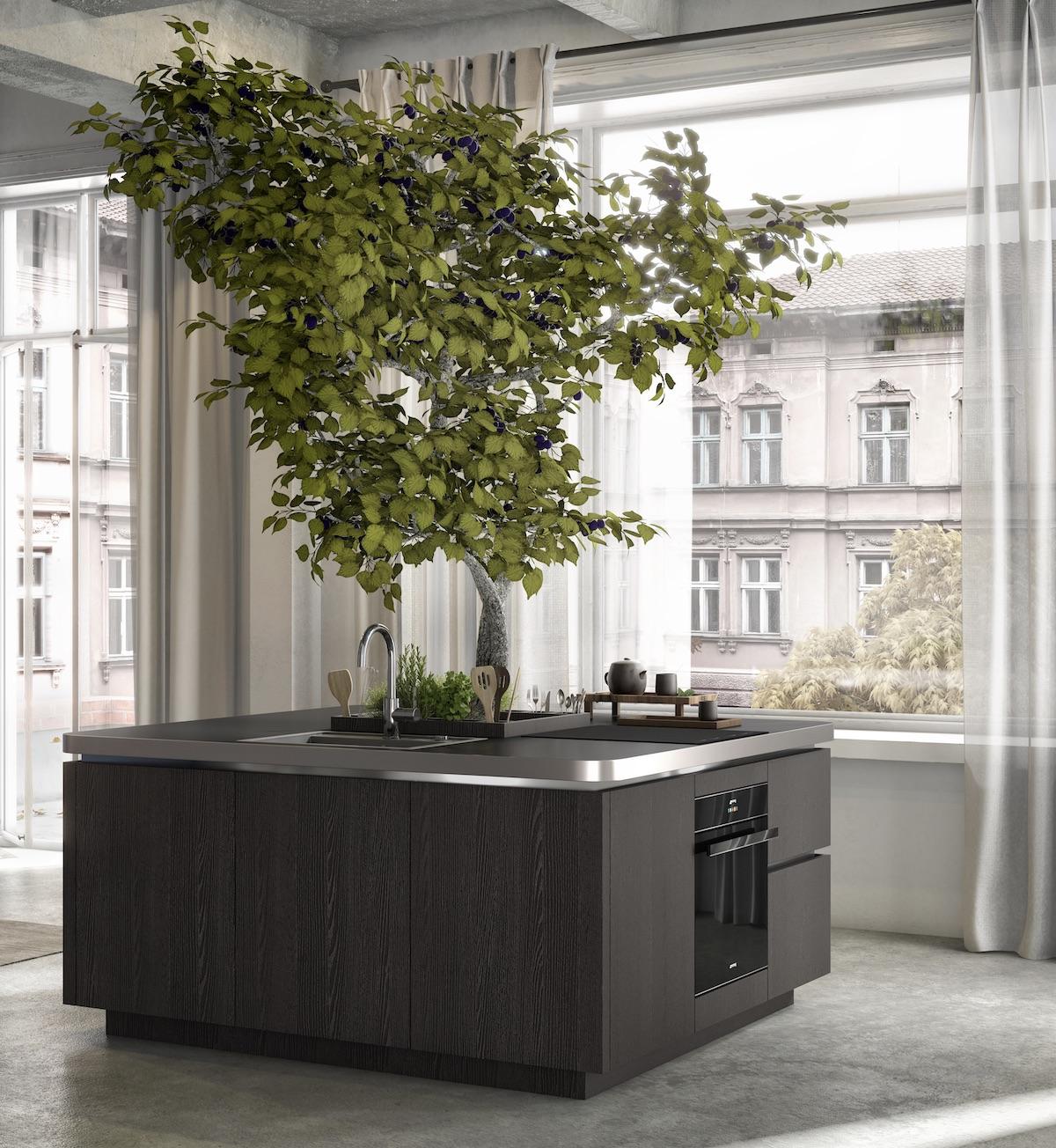 cuisine avec îlot central arbre potager intérieur design - blog déco - clem around the corner