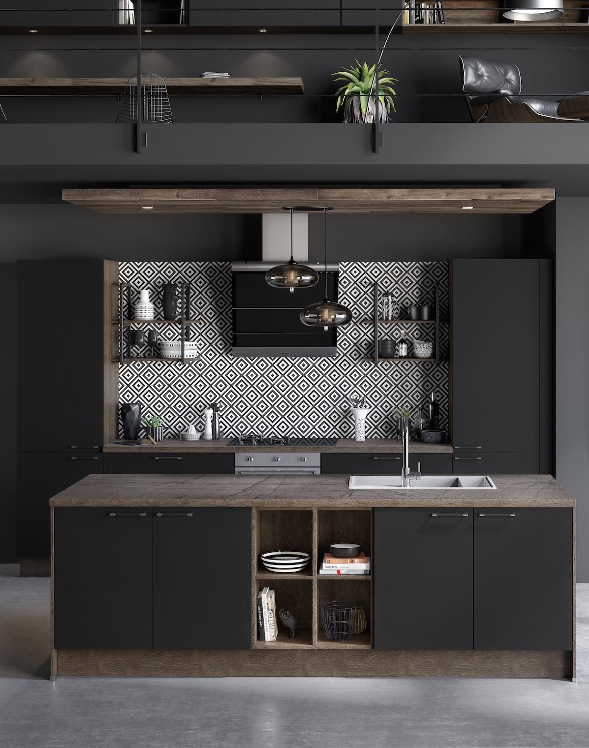 cuisine noire mat bois - blog déco loft - clem around the corner