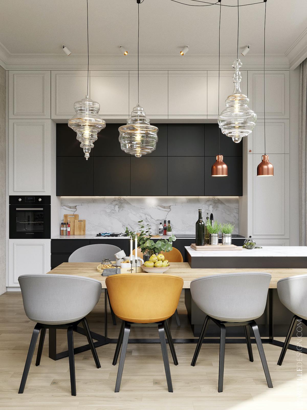 cuisine ouverte salle à manger rétro moderne grise blanche noire - blog déco clemaroundthecorner