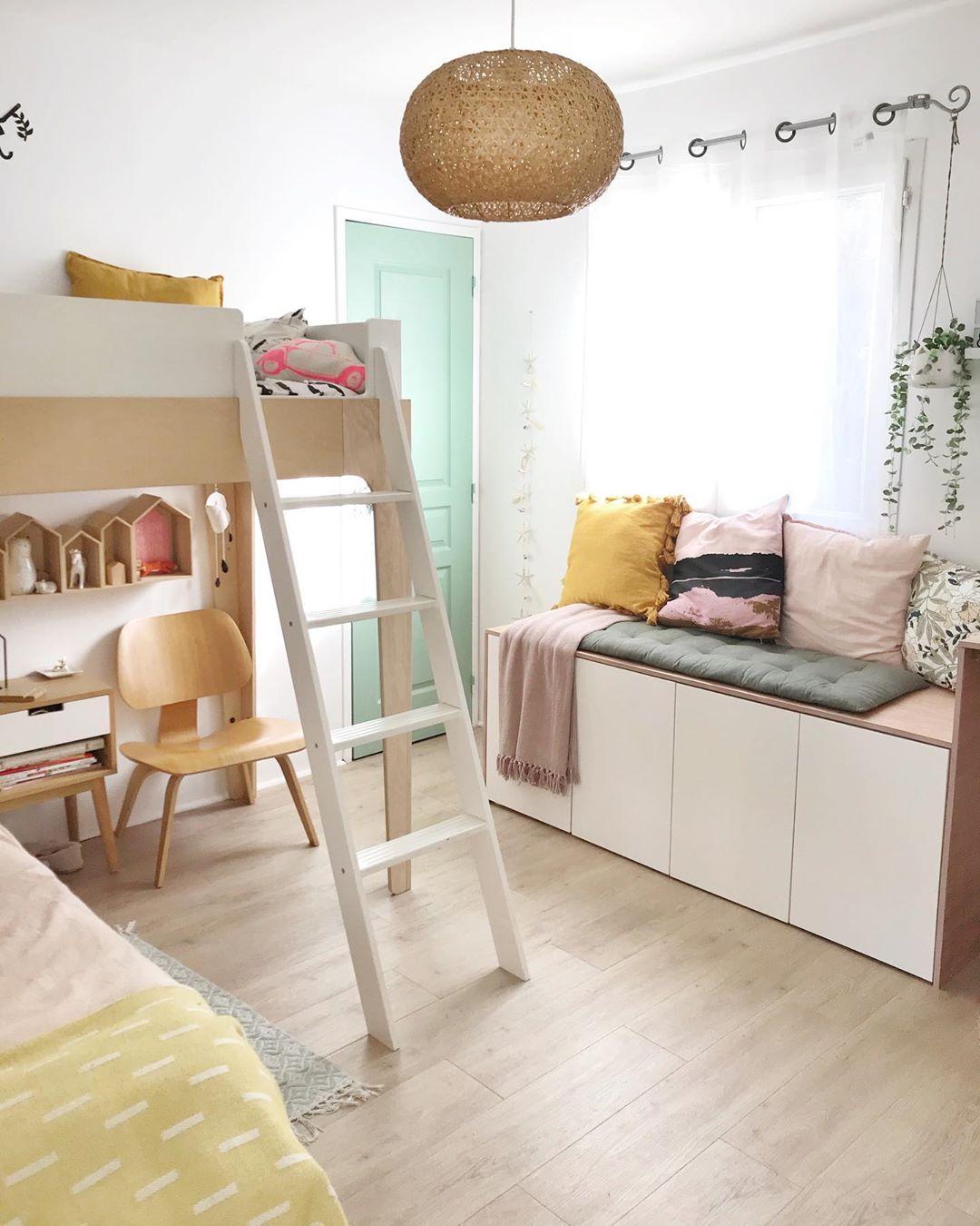 décoration intérieure chambre fille rangement banquette blog clematc