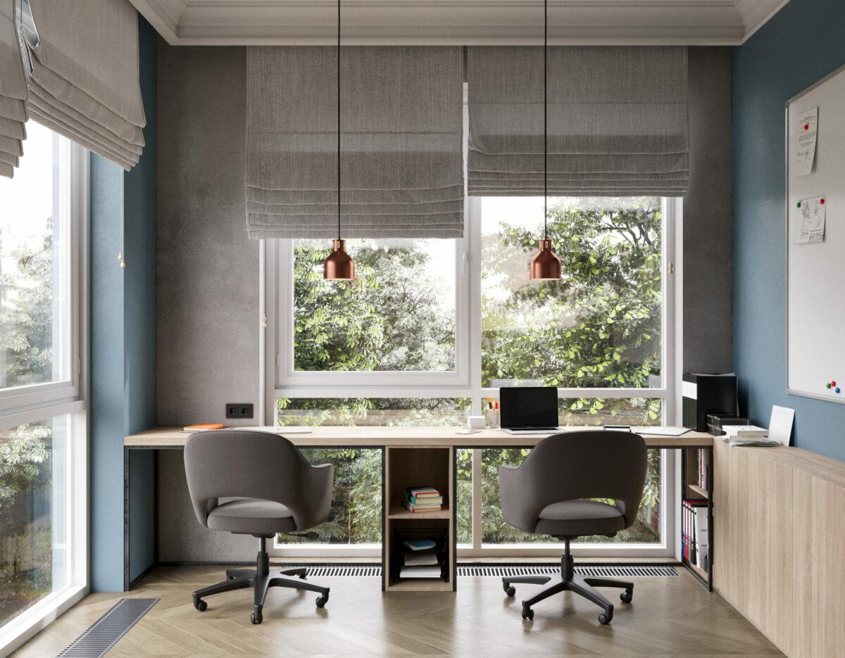 espace bureau télétravail maison face au jardin bureau double freelance à Saint Pétersbourg architecte