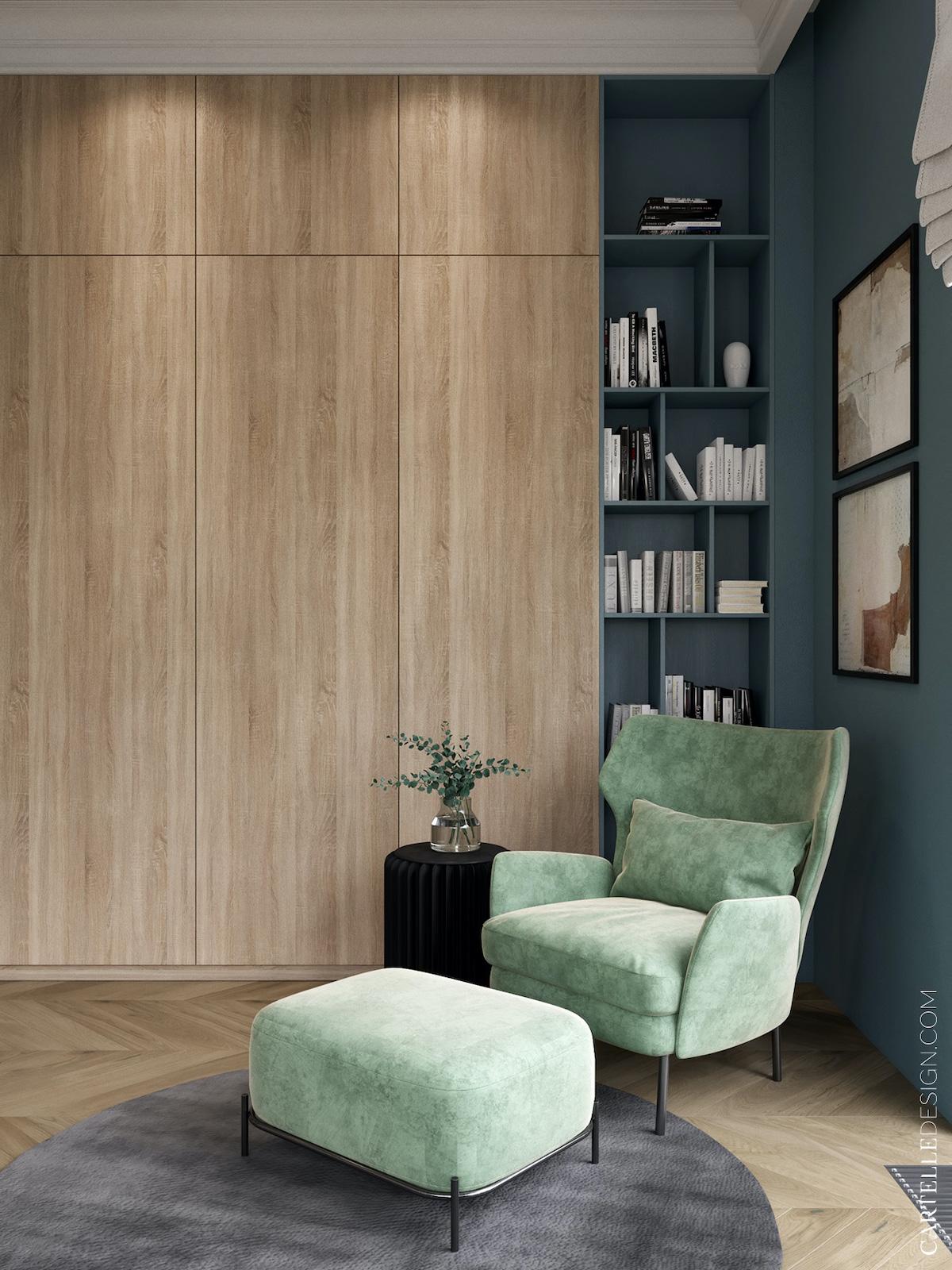 espace cosy chambre bleue verte fauteuil velours espace lecture bibliothèque case sur-mesure