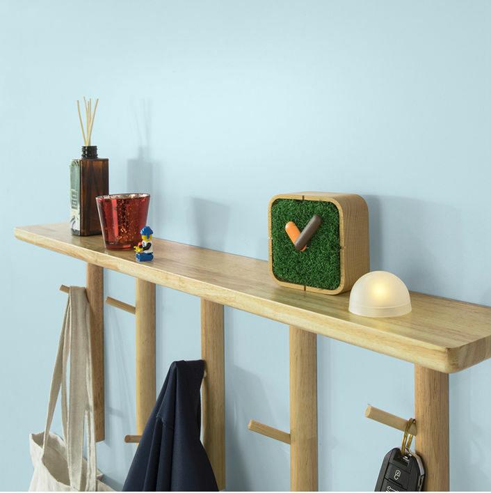étagère murale porte manteau en bois avec rangement et 9 crochets